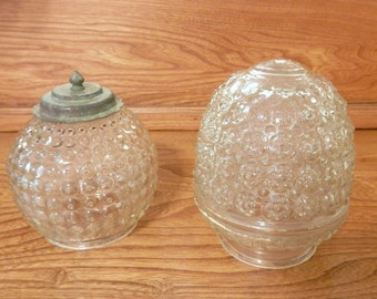 Vintage Art Deco Light Globes - Clear Glass Antique Style Light GLobes - Set of Two