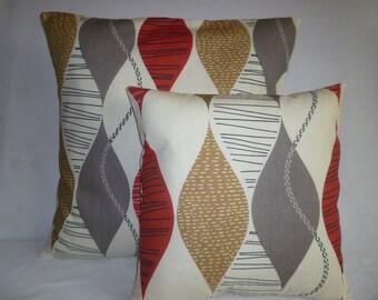 "PAIR BIG Decorative Pillow Red Gray 22x 22"" Designer Cotton Cushion Covers Pillowcases Shams Slips"
