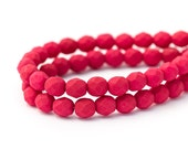 Saturated Fuchsia Rose Fire Polished Round Spacer Beads, Dark Pink, Matte Opaque Faceted Czech Glass, 6mm x 25pc (0017)
