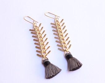 Matte Gold Tassel Earrings, Fashion Tassel Earrings, Handcrafted Tassel Earrings