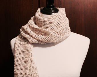 Safari Wrap Scarf, Handmade Crochet Scarf, Cotton Knit Scarf, Ready to Ship