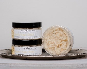 Natural Sugar Scrub, Vanilla Sugar Cookie, with Organic Shea Butter,  8 oz. by Green Bubble Gorgeous on etsy
