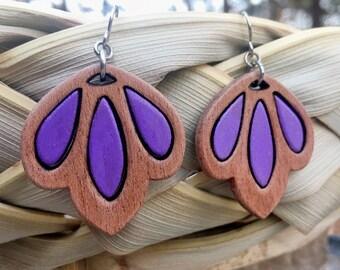 Mahogany Purple Tullip Drop Earrings