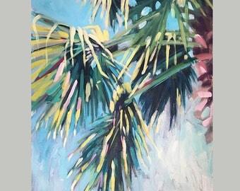 Luxury Palm Tree Home Decor, Palm Leaves Wall Art, Painting Of Fern Leaves, Original Tropical Plant Art, Original Palm Tree Art
