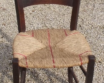 Antique Vintage French chair woven straw seat oak frame Van Gogh Classic Seat