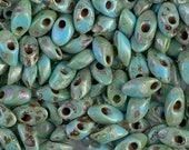 10-25 grams, Miyuki 4x7 Long Magatama, Opaque TURQUOISE Blue PICASSO,#4514, (LM55), glass, kumihimo, knitting, jewelry, beading,beadweaving