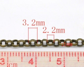10M (32.8 Ft) - Antique Bronze  Rolo Link-Opened Chain - 3.2mm Links