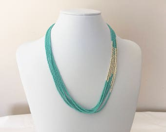 Turquoise and Gold Necklace, Turquoise and Gold Seed Bead Necklace, Turquoise and Gold Jewelry, Turquoise Necklace, Gold Necklace, Necklace