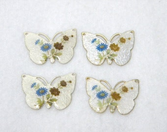 Silver Vintage Flower Guilloche Enamel Butterfly Connector Charms - Set of 3