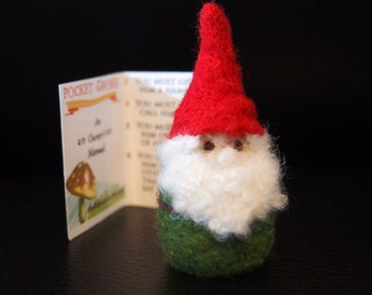 Pocket Gnome - Needle Felted Gnome - Felt Gnome - Green Coat Red Hat