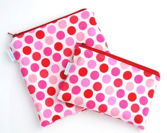 Reusable Snack Bag Set of Two, Valentine's Gift for Kids, Handmade, Zookaboo