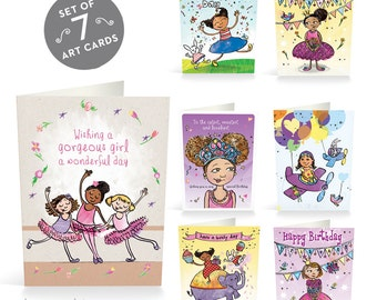 Birthday Cards Pack for Girls, Multicultural Card Pack, Cute Card, Happy Birthday Card, Multicultural, Cards Bulk, African American Card