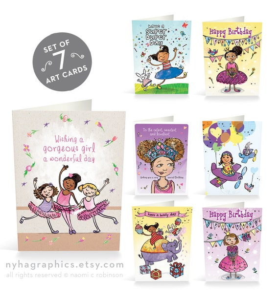 birthday cards pack for girls multicultural card pack cute, Birthday card