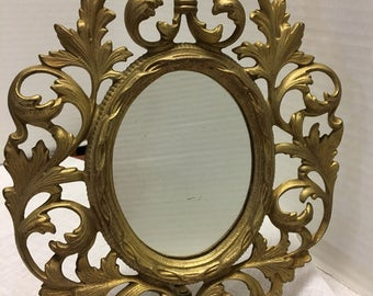 "Vintage Small Ornate Brass Stand Up Mirror 11"" Tall by 8 1/2"" Wide Oval Shape"