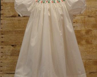 Size 3 Toddler Hand Smocked Ribbon Christmas Dress