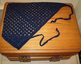 Navy Blue Classic Crochet Kerchief