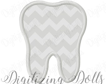 Tooth Applique Machine Embroidery Design Digital File 3x3 4x4 5x7 6x10 Dentist Dental Assistant hygenist Doctor INSTANT DOWNLOAD