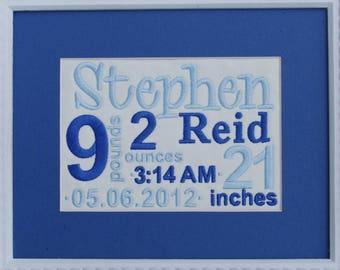 Custom Birth Announcement  - Blue Birth Announcement - Embroidered Birth Announcement Canvas - 8 X 10 No Frame - Blue New Baby Boy Mom Gift