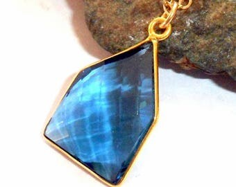 Blue Apatite Gold Necklace earthegy #2682