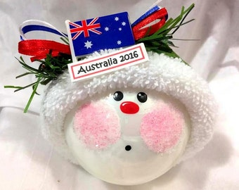 AUSTRALIA Souvenir Christmas Ornament Baubles Australian Flag Handmade Personalized Themed Townsend Custom Gifts (F) - BR