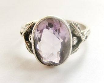 English Arts and Crafts sterling silver ring with amethyst