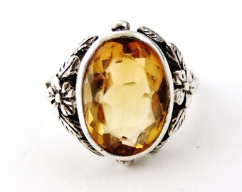 English arts and crafts sterling silver citrine ring