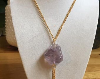 Gold and Purple Amethyst Necklace