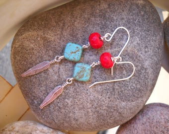 Southwestern Style Turquoise Howlite Red Howlite and Silver Dangle Earrings