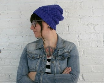 Slouch Hat - Royal Blue Textured Slouch Beanie - Baggy Hat