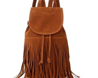 Fringe Suede Backpack Rucksack Summer School Teenager Woman Office Bag