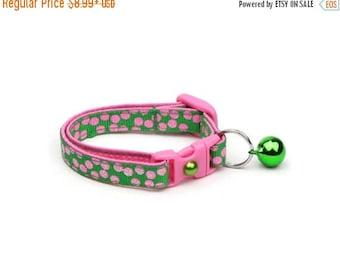 ON SALE Polka Dot Cat Collar - Pink Dots on Green - Breakaway Cat Collar - Kitten or Large size
