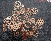 10 steampunk metal gear cogs charms beads pendant antique bronze gold copper rose gold silver