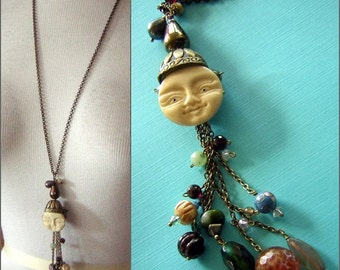 Magic Moon Pendant with Gemstone Tassels Long Chain ARTISAN Hand Made