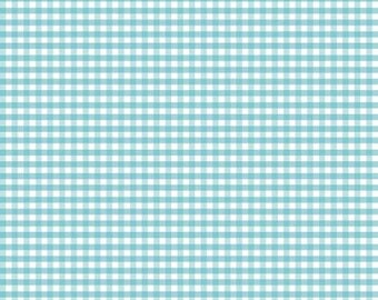 """Riley Blake - Small gingham in AQUA blue - 1/8"""" Gingham check Fabric - C440R-20 - cotton sewing quilting fabric - choose your cut"""