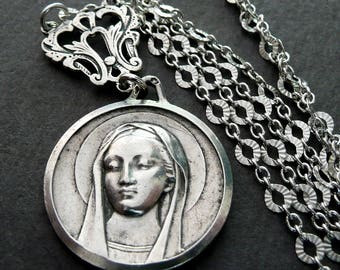 Our Lady of Lourdes Necklace, Vintage French Silver Medal, Virgin Mary Necklace