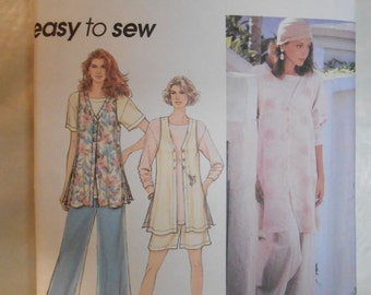 Vintage PATTERN Simplicity 8876  Misses' Unlined Vest, Top, Shorts and Pants Size XS, S, M