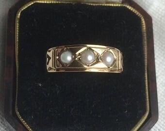 Vintage 9ct Gold Pearl Gypsy Ring - June Birthstone