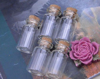 10 Small glass bottles with corks, Glass bottles, Small bottles, Bottle, Mini glass bottles, Vials, tiny bottle, small glass jars 22x40mm