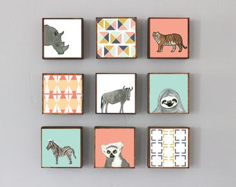 safari nursery wall art- nine set of 5x5 art blocks- nursery decor, tiger, lion, animal prints, safari decor, geometric print, redtilestudio