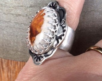 Sterling Silver and Mexican Fire Opal Ring size 6.5