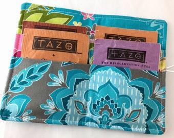 Blue Tea Wallet Tea Bag Wallet - Tea Bag Case Tea Bag Holder Tea Holder Tea Bag Cozy - Tea Bag Organizer - Riley Blake Fantine Damask Blue