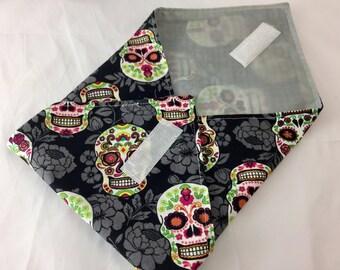 Reusable Sandwich Bag Sugar Skulls Sandwich Wrap - Reusable Sandwich Mat - Sugar Skulls Flower Black
