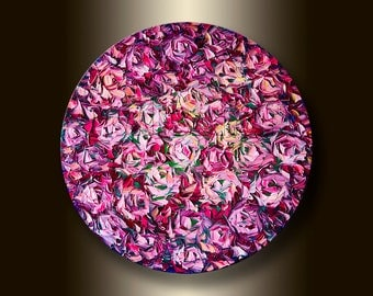 Rose Floral Canvas Modern Flower Oil Painting Textured Palette Knife Original Art 24-Inch Round Canvas by Willson Lau