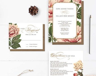"Rustic floral wedding invitations, Botanical Wedding Invitations, 5x7, Wedding invitations, the ""Kara"""