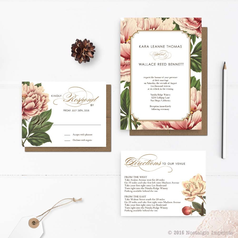 Rustic floral wedding invitations botanical wedding for Floral wedding invitations canada
