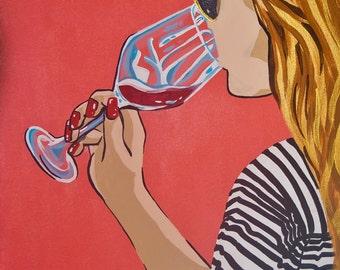 Girl Drinking Wine Pop Art Painting by Artist Jamie Kuchon 11x14 Print