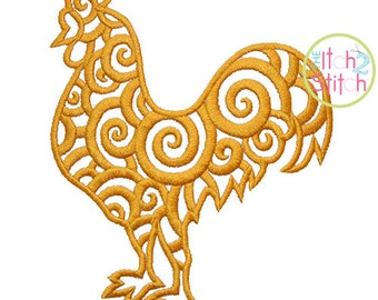 Scroll Rooster Embroidery Design,  Sizes 4x4, 5x7, and 6x10  INSTANT DOWNLOAD now available
