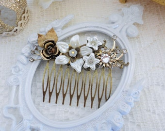 Bridal Hair Comb, Ivory Pearl Comb, Rhinestone Hair Comb, Floral Hair Comb, Assemblage Hair Jewelry, Collage Hair Comb, Swarovski Crystal