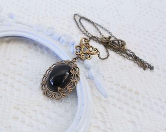 Jet Black Necklace, Art Nouveau Necklace, Vintage Glass Jewel Necklace, Romantic Necklace, Gothic Pendant, Black Pendant, Filigree Jewlery
