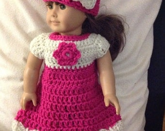 Doll dress and hat set hot pink white flower accent doll clothes crochet dress